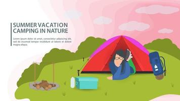 Banner for the design of summer camping in nature a girl lies in a tourist tent on a green lawn flat vector illustration