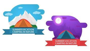 Banner para acampar de verano, diseño de dos etiquetas, día y noche, emblema de una carpa turística, vector ilustración plana