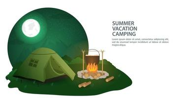 Banner for the design of summer camping in nature tourist tent stands at night near the fire where food is prepared flat vector illustration