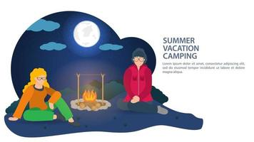 Banner for summer camping design two girls sitting at night near a campfire in nature vector flat illustration