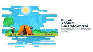 Sunny day landscape illustration in flat style people put up a tent Background for summer camp nature tourism camping or Hiking concept design vector