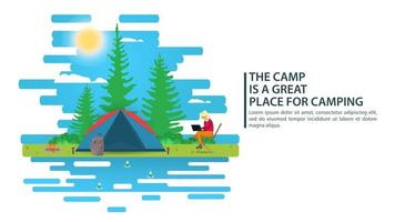 Sunny day landscape illustration in flat style cartoon girl working on a laptop next to a tent Background for summer camp nature tourism camping or Hiking concept design vector