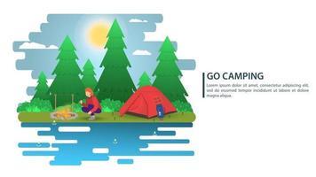 Ilustración de paisaje nocturno en caricatura de estilo plano un hombre encendiendo un fuego cerca de un fondo de carpa para campamento de verano, turismo de naturaleza, campamento o diseño de concepto de senderismo vector