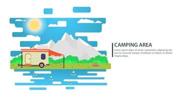 Sunny day landscape illustration in flat style trailer motor home campfire mountains forest and water Background for summer camp nature tourism camping or Hiking concept design vector