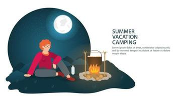Banner for the design of a summer camping in nature a guy sits at night near a fire where food is being prepared flat vector illustration