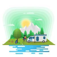 Fondo de paisaje de día soleado para campamento de verano turismo de naturaleza camping o senderismo concepto de diseño web niña con computadora portátil sentada en las escaleras junto a una casa sobre ruedas ilustración vectorial plana vector