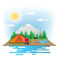 Sunny day landscape Background for summer camp nature tourism camping or Hiking web design concept girl sitting next to a tent and a tent flat vector illustration