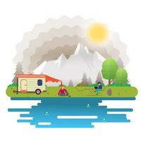 Fondo de paisaje de día soleado para campamento de verano turismo de naturaleza camping o senderismo concepto de diseño web niña en la mesa otra cerca de la casa sobre ruedas ilustración vectorial plana vector