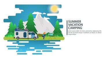 Sunny day landscape illustration in flat style cartoon people came by car to the camp site mountains forest Background for summer camp nature tourism camping or Hiking concept design vector