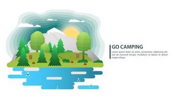 Fondo de paisaje de día soleado para campamento de verano, turismo de naturaleza, camping o senderismo, concepto de diseño web, montañas, bosque, agujas y hojas, naturaleza, ilustración vectorial plana vector