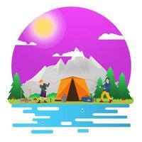 Fondo de paisaje de día soleado para campamento de verano, turismo de naturaleza, camping o senderismo, concepto de diseño web, la gente configura una tienda turística ilustración vectorial plana vector