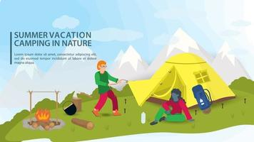 Banner for the design of a summer camping in nature a girl sits near a tourist tent that a guy sets up against the background of mountains flat vector illustration