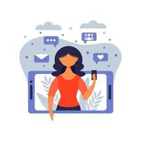 Woman holding smartphone and chatting in messenger or social network. Internet communication, online instant messaging or information exchange. Vector illustration in flat cartoon style.