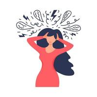 Frustrated woman with nervous problem feel anxiety and confusion of thoughts. Mental disorder and chaos in consciousness. Girl with anxiety touch head surrounded by think. vector