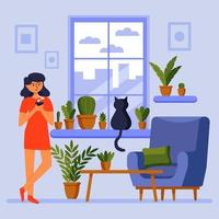 Good morning. Girl at the window with a cat. Morning coffee. Home comfort. Vector illustration.