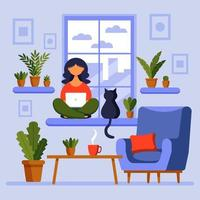 Home office concept, girl with laptop. A woman works from home sitting on the window. Freelance or studying, student or freelancer concept. vector