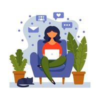 Woman with laptop sitting on the chair. Concept illustration for freelancing, studying, online education,online shopping, working from home. Vector illustration in flat cartoon style.