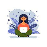 Woman with laptop sitting in nature with crossed legs. Concept illustration for freelancing, studying, online education,online shopping, working from home. Vector illustration in flat cartoon style.