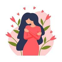 Young woman hugging herself. Love yourself. Self love concept. Love your body concept. Vector illustration in flat style.