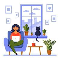 Home office concept, girl with laptop. A woman works from home sitting at the window. Freelance or studying, student or freelancer concept. vector