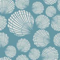 patrón sin fisuras con conchas marinas. fondo marino. Ilustración de vector dibujado a mano en estilo boceto. perfecto para saludos, invitaciones, libros para colorear, textil, boda y diseño web.