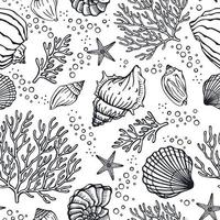Seamless pattern with seashells, corals and starfishes. Marine background.  Perfect for greetings, invitations, manufacture wrapping paper, textile and web design. vector