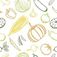 Seamless pattern hand drawn vegetables collection, isolated elements. Vector illustration.