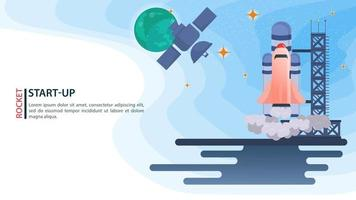banner satellite in space on the background of planets watching the launch of the space Shuttle rocket startup for web and mobile sites design flat vector illustration