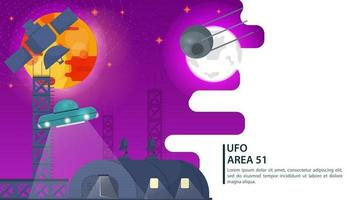 banner satellites in space on the background of planets watching UFOs flying saucer hovering over the hangar for web and mobile sites design flat vector illustration