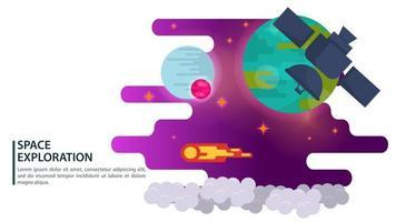 El satélite espacial de banner en el fondo de un planeta azul hace un vuelo para el diseño de sitios web y móviles ilustración vectorial plana vector
