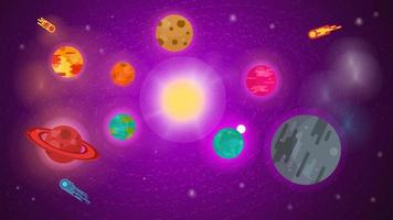 banner for the design of the universe with planets in orbit in the center the sun stars nebulae comets flat vector illustration