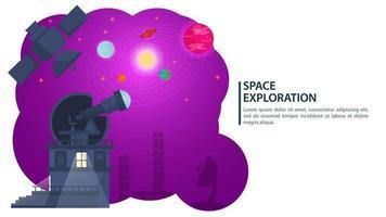 banner telescopio observatorio observa cuerpos cósmicos en el cielo para sitios web y móviles, diseño de ilustración vectorial plana vector