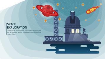 banner radiotelescopio observatorio observa un planeta con anillos y un cometa para sitios web y móviles, diseño de ilustración vectorial plana vector