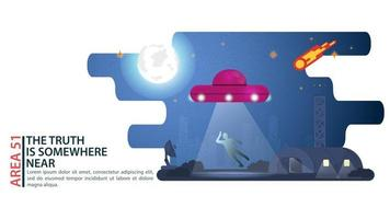 UFO flying saucer abducts a person at night extraterrestrial intelligence hangar design concept flat vector illustration
