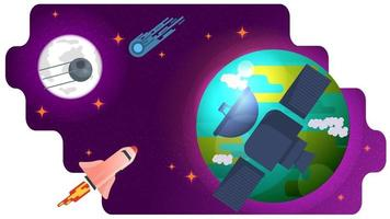 Space artificial satellite flies past a large planet in space design concept flat vector illustration