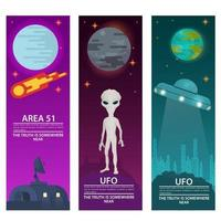 vertical banners UFO flying saucer zone 51 alien extraterrestrial intelligence on a night background design concept flat vector illustration