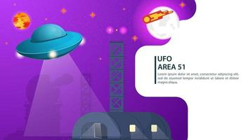 banner UFO flying saucer hovering over the hangar for web and mobile sites design flat vector illustration
