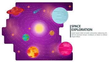 Universo espacial de banner con planetas en órbita para sitios web y móviles, diseño de ilustración vectorial plana vector