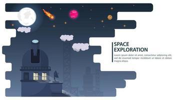 El telescopio del observatorio espacial de banner observa planetas y estrellas para sitios web y móviles, diseño de ilustración vectorial plana vector