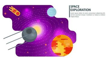 banner artificial satellite ship flying in space for web and mobile sites design flat vector illustration