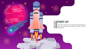 banner space Shuttle rocket takes off into space fast startup for web and mobile sites design flat vector illustration