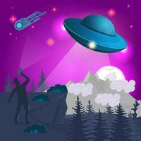 in the mountains at night a man takes a UFO flying saucer on his mobile phone design concept flat vector illustration