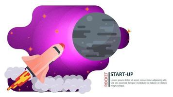 banner space Shuttle ship flying in space to a large gray planet for web and mobile sites design flat vector illustration