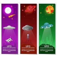 vertical banners UFO flying saucer kidnaps animal alien extraterrestrial intelligence on night background design concept flat vector illustration