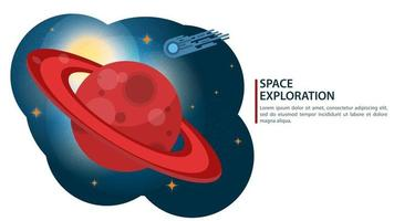 Big red planet with rings of Saturn in space, the concept of flat design vector illustration