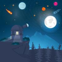 Landscape Observatory radio telescope on the mountain studying the space of the planet against the background of nature design concept flat vector illustration
