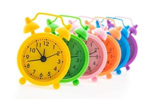 Colourful alarm clocks photo