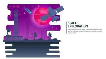 Space satellite for space exploration on the background of the big red planet design concept flat vector illustration