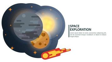 Three large planets one after the other with a flying comet in space design concept flat vector illustration