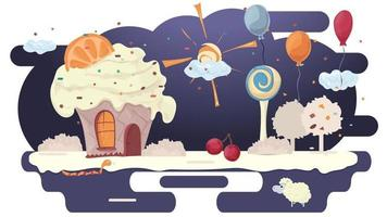 House cupcake cake with orange on the roof in a glade of icing among trees flowers and balloons flat vector illustration for design decoration